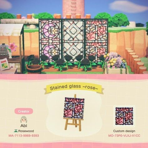 Animal Crossing 3ds, Animal Crossing Qr Codes Clothes, Animal Crossing Town Tune, Stained Glass Rose, Stained Glass Designs, Stained Glass Windows, Ac New Leaf, Motifs Animal, Path Design