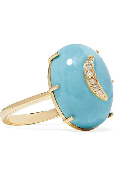 Andrea Fohrman Crescent Moon 14-karat Gold, Turquoise Diamond And Earrings