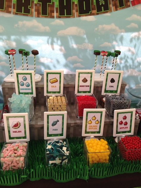 Minecraft Birthday Party food ideas! See more party ideas at CatchMyParty.com!