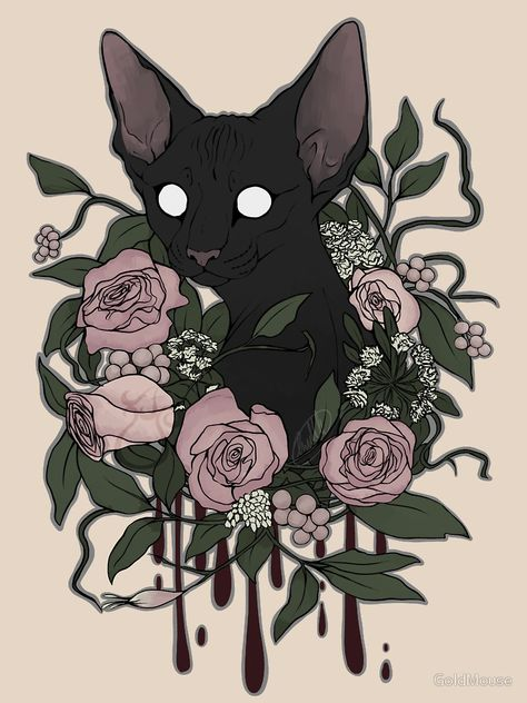 Dark Floral Feline by GoldMouse