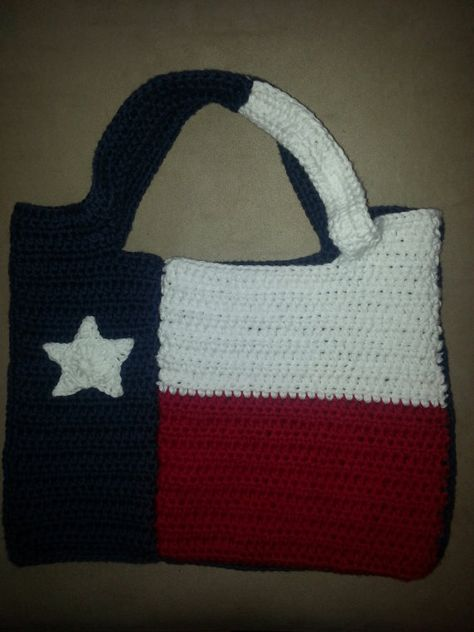Crocheted Cotton Texas Flag Purse By Craftywhippersnapper On Etsy 45 00 Crochet Crochet Purses Crochet Patterns