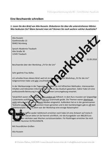 B2 Telc Schriftlicher Ausdruck Beschwerde Unterrichtsmaterial Im Fach Daz Daf Lernen Tipps Schule Ausdrucke Daf