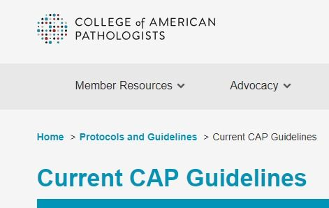 Current Cap Guidelines College Of American Pathologists Guidelines Current Cap
