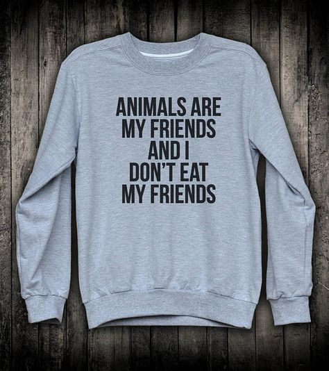 Animals are my Friends /& I don/'t eat Friends Vegetarian Hooded Top Ladies Hoodie