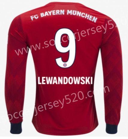 2018 19 Bayern Munchen Home Red 9 Lewandowski Thailand Ls Soccer Jersey Aaa