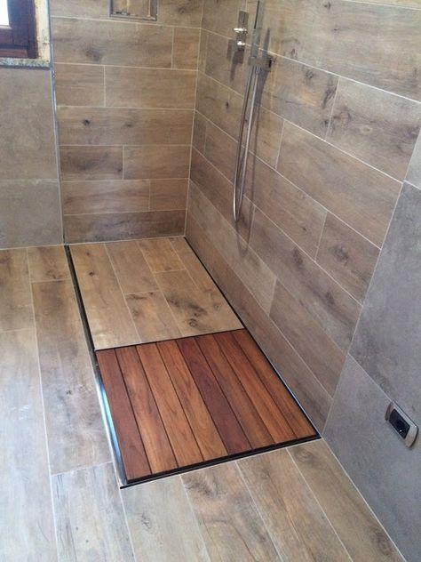 Piatto Doccia Filo Pavimento Dreno Su Misura Rettangolare Wood