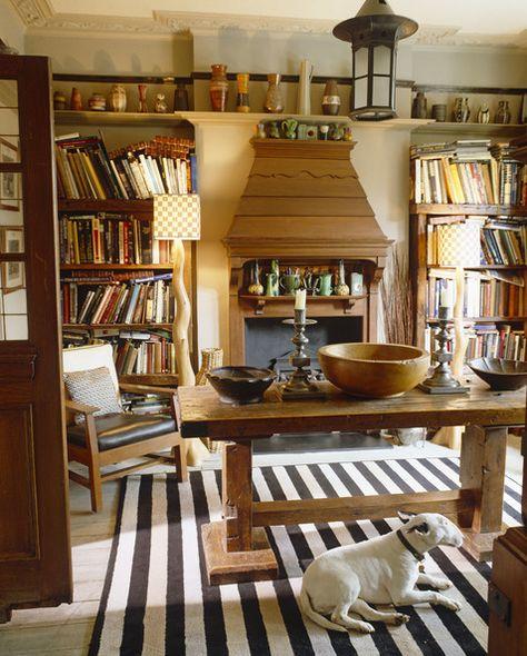 """Yellow Country Library"" -- The lamps are SO unusual!"