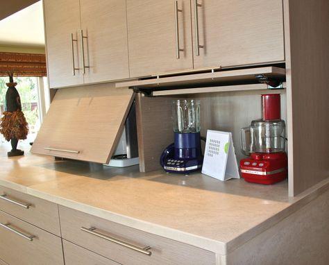 appliance garage - doors that fold back allow open most of time - küchen wandverkleidung katalog
