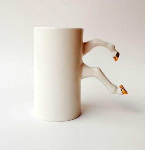 White Ceramic Mug with Gold Hooves Porcelain Modern by barceramics
