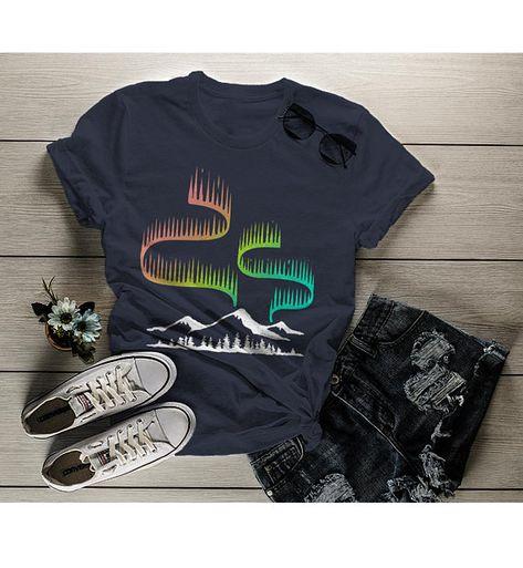ea44a21e3 Women's Aurora Borealis T Shirt Northern Lights Shirt Camping Shirts  Mountains Explore Graphic Tee