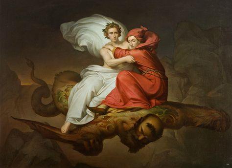 Dante and Virgil Flown by Ceron. 1893. Roberto Bompiani. Italian 1821-1908…