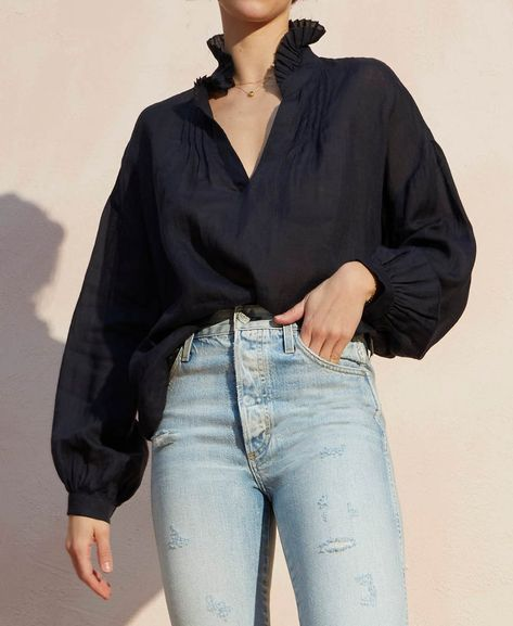 Made in USA Women/'s Casual Blouse Tops for Work 34 Sleeve Split Neck Navy Blue Georgette Fabric Loose Fitting Shirt in Size Medium