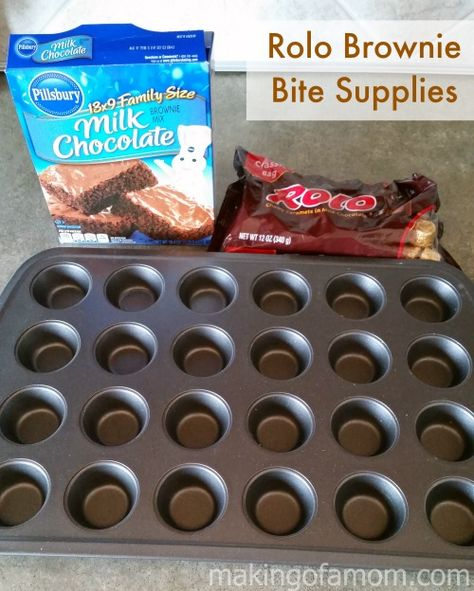 Rolo Brownie Bites are a simple, yet yummy dessert. Use the frosting and sprinkles to theme these for any occasion you are celebrating. Mini Desserts, Brownie Desserts, Brownie Recipes, Candy Recipes, Sweet Recipes, Cookie Recipes, Delicious Desserts, Dessert Recipes, Brownie Ideas