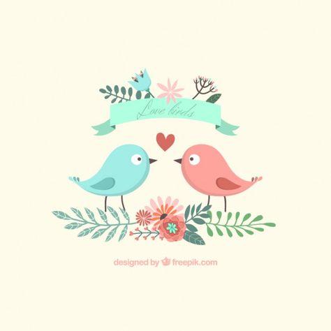 Free vector Cute lovely birds #1080