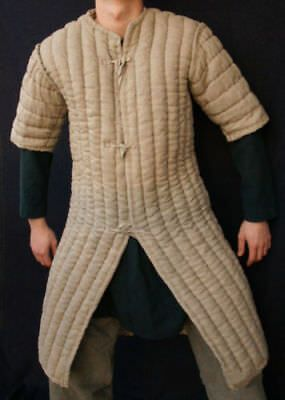 Thick-camel color long Gambeson Medieval Padded-play movie Armor half sleeves v. #fashion #clothing #shoes #accessories #specialty #costumesreenactmenttheater (ebay link)