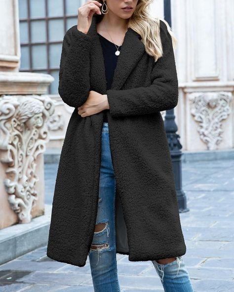 Solid Color Long Sleeve Long Fleece Coat - purplish blue, S