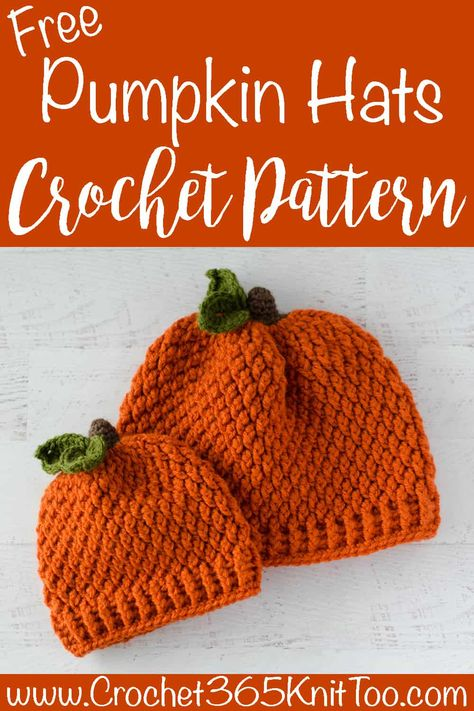Crochet Pumpkin Hat in All Sizes WOW 7 Sizes! Crochet Pumpkin Hat Pattern for free! Crochet Baby Hats Free Pattern, Crochet Baby Beanie, Crochet Kids Hats, Crochet Fall, Crocheted Baby Hats, Crochet Ideas, Crochet Beanie Hat Free Pattern, Crochet Baby Bonnet, Quick Crochet