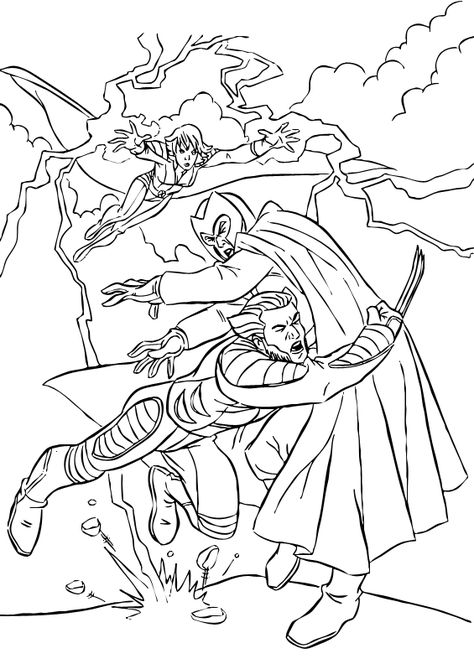Here a coloring page of Storm, Wolverine and Magneto