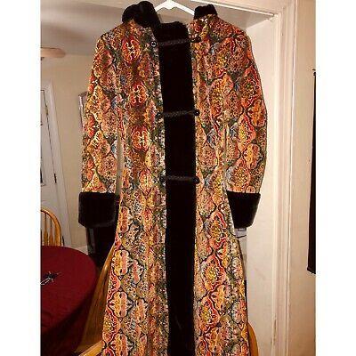 Rare 1960s Tapestry Carpet Coat Faux Fur Vintage Vtg Womens Small Retro Boho Ebay Faux Fur Coat Coats For Women Retro Coat