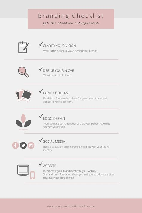 Branding Checklist for the creative entrepreneur - Rosewood Creative Studio Personal Branding, Social Media Branding, Branding Your Business, Social Media Tips, Business Tips, Identity Branding, Corporate Branding, Small Business Plan, Branding Process
