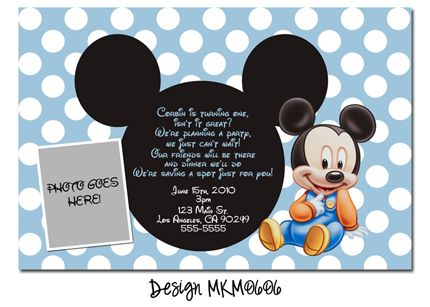 Mickey Mouse 1st Birthday Party Invitation Wording – Mickey Mouse First Birthday Party Invitations