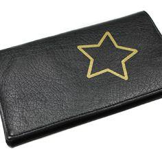Porte ch/équier porte carte en cuir noir Fee Cadeau fete des meres