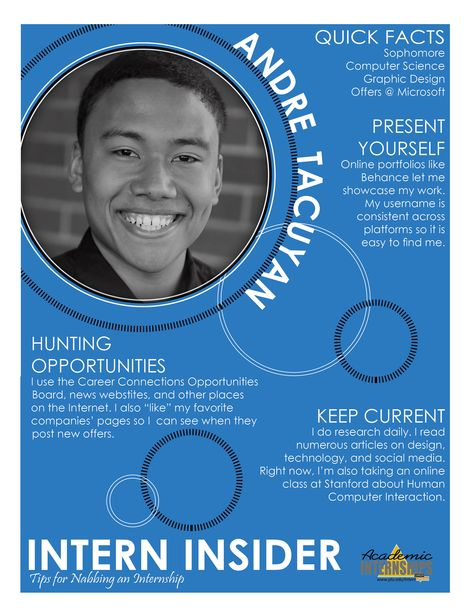 What is Andre '13 doing to land his dream internship? Check out the latest Intern Insider!