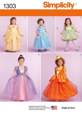 Simplicity Childrens Sewing Pattern 1303 Princess Style Dresses | Sewing | Patterns | Minerva Crafts