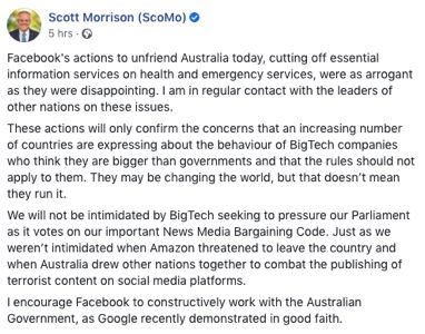 Facebook Blocks all News Items for Australian Users'