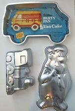 Wilton PARTY VAN FRED FLINSTONE CHOO TRAIN LOT Large Cake Pan Van Ambulance Vtg