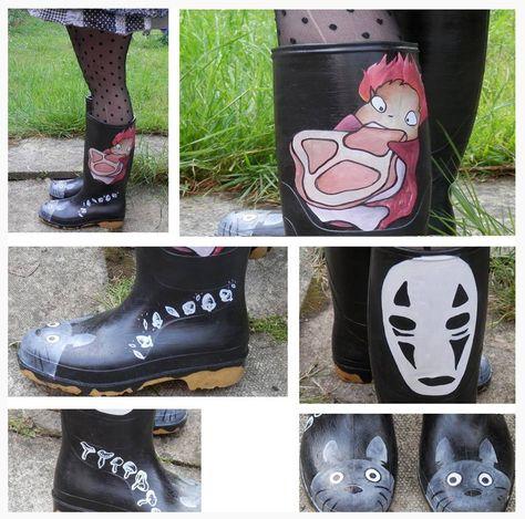 Botas de agua decoradas con personajes del Studio Ghibli.