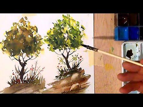 Como Pintando Nubes A La Acuarela Youtube Arboles Con Acuarela