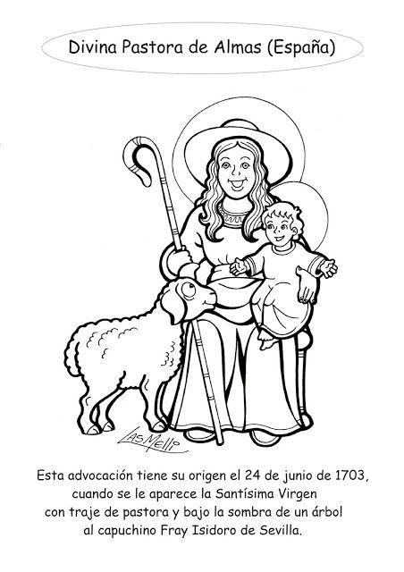 El Rincon De Las Melli Advocaciones Espana Divina Pastora Paginas Para Colorear De Biblia Pastor