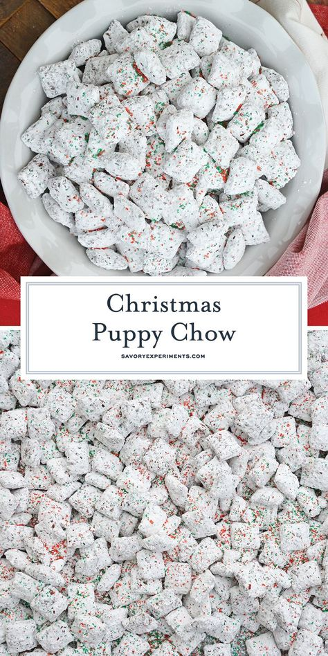 Christmas Puppy Chow transforms a traditional muddy buddy recipe into a festive ., Desserts, Christmas Puppy Chow transforms a traditional muddy buddy recipe into a festive Reindeer Chow mix! The perfect no-bake dessert for any party or event. Christmas Deserts, Holiday Snacks, Holiday Recipes, Christmas Parties, Christmas Christmas, Christmas Puppy Chow, Christmas Chocolate, Holiday Dinner, Christmas Muddy Buddies Recipe