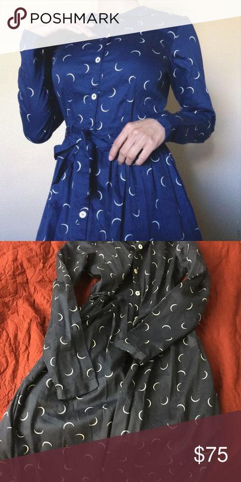 8181737165621c People Tree Crescent Moon dress The People Tree fairtrade organic cotton  Anita crescent moon navy blue dress. Such an amazing dress!