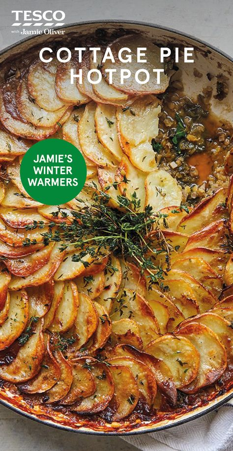 "Jamie Oliver says, ""If you love a comforting hotpot, prepare to have your mind blown with this phenomenal meat-free version. Slow-cooked lentils, mushrooms and Worcestershire sauce add loads of savoury goodness, while my crispy potato topping is a winner every time. A hearty winter dinner without the meat."""