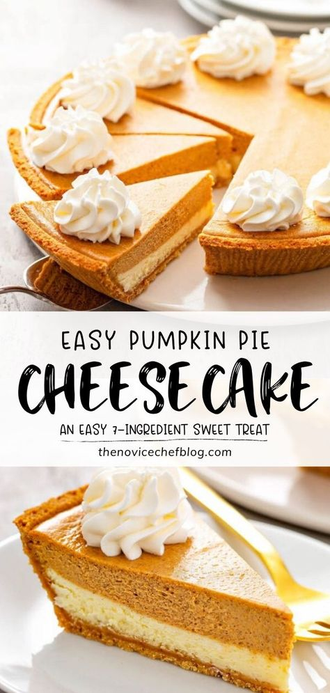 Try Easy Pumpkin Pie Cheesecake this Fall! 7 ingredients are all you need to make this phenomenal dessert. With gorgeous layers of spiced pumpkin cheesecake, thick sweet cheesecake, and a graham cracker crust, it will be a hit on the holidays! Serve with whipped cream!