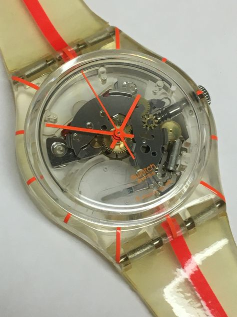 Vintage Swatch Watch NRGTIK 2001 Orange Stripes Clear Skeleton See Through Valentines Day Holiday Gift by ThatIsSoFunny on Etsy