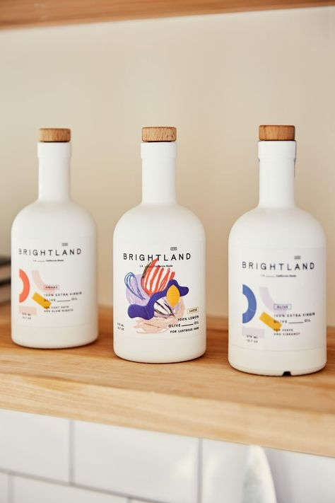 This Founder's Gorgeous LA Kitchen Is Just as Bright as Her Brand Branding that The Indie Practice love! design Inside Brightland Founder Aishwarya Iyer's Kitchen Design Typo, Web Design, Label Design, Package Design, Brand Design, Beverage Packaging, Bottle Packaging, Brand Packaging, Product Packaging Design