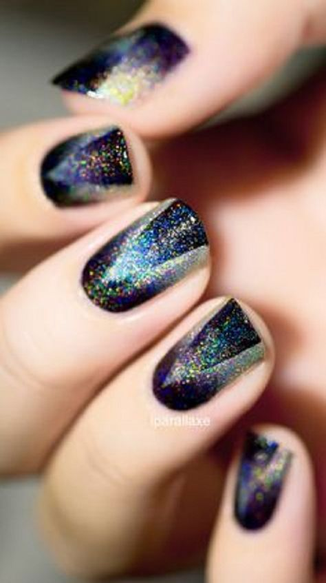 Rainbow glitter polish Ombre nail art. Black doesn't always dull your nails out; it can highlight some designs as well just like this rainbow colored glitter polish on top.