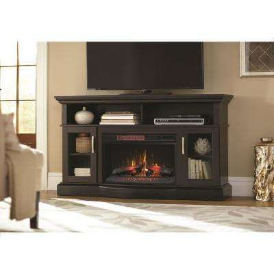 Hawkings Point 59 5 In Rustic Tv Stand Electric Fireplace In Black Rustic Media Console Fireplace Tv Stand Fireplace Entertainment