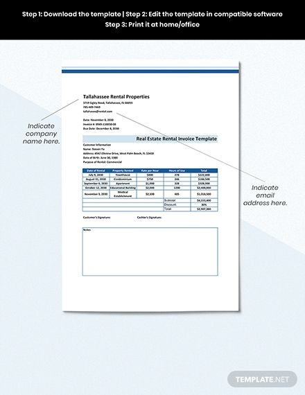 Real Estate Rental Invoice Template Free Pdf Word Doc Excel Apple Mac Pages Google Docs Google Sheets Apple Mac Numbers Invoice Template Document Templates Word Doc
