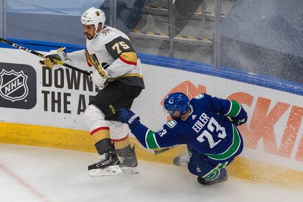 After Leading N H L Play Stoppage Golden Knights And Canucks Redraw Swords Sport Hockey Canucks Major League Soccer