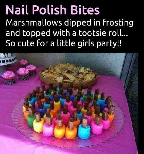 Nail polish bites - Marshmallow dipped in frosting & tootsie roll for handle party birthday celebration