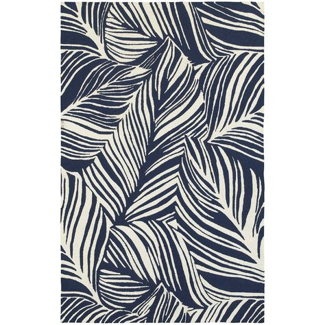 Tommy Bahama Home Atrium Tropical Leaf Blue & Ivory Indoor/Outdoor Area Rug | Wayfair