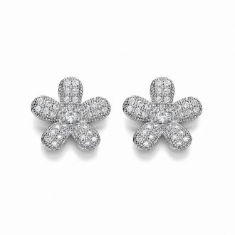 These 925 sterling silver floral studs are fun and flirty. Made with dazzling micro-pave simulated stones and a delicate simulated diamond in the centre, these versatile studs are perfect for any outfit.