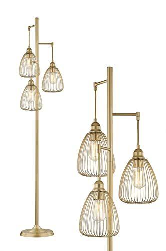 Best Seller Leezm Gold Industrial Floor Lamp Living Room Modern Floor Lighting Rustic Tall Stand Up Lamp Vintage Farmhouse Tree Floor Lamps Bedrooms Office T In 2020 Modern Floor Lights Industrial