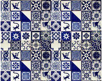 """100 4x4 /"""" Pieces Mexican Talavera Tiles Handmade Blue /& White Mixed Designs"""