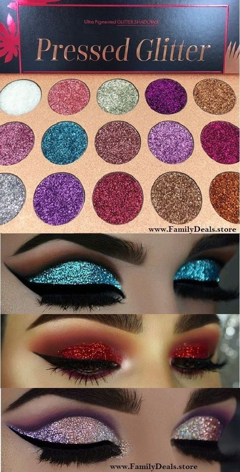 The GLITTER COCKTAIL Eyeshadow Palette is inspired by woman´s confident and bold side. A must-have, exquisite beauty makeup palette with all 14 bright pigment-rich colors, serious staying power and blendability. Buy Yours Today from www. Glitter Makeup, Eyeshadow Makeup, Makeup Brushes, Makeup Remover, Revlon Makeup, Eyeshadow Brushes, Glitter Eyeshadow Tutorial, Pressed Glitter Eyeshadow Palette, Face Makeup
