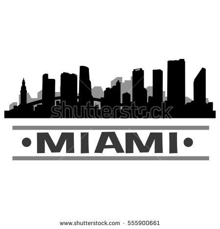 Miami Skyline Sticker By Duxdesign In 2021 City Drawing Skyline Drawing Travel Diary Art